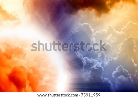Fantastic background - red abstract planet in cloudy sky - stock photo