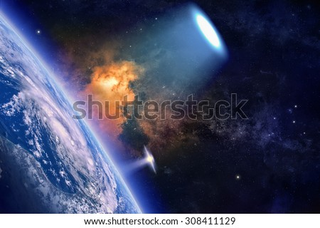 Fantastic background - ufo with bright spotlight explores planet Earth in space, aliens invasion. Elements of this image furnished by NASA nasa.gov - stock photo