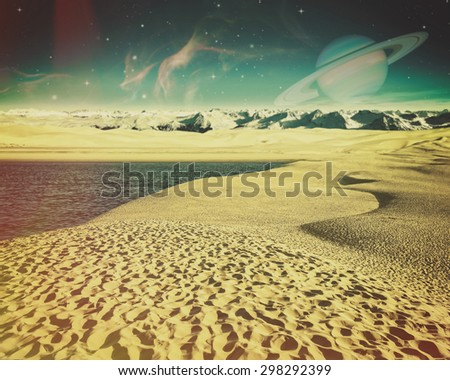 Fantastic backgrounds with another planet on the skies and dry desert - stock photo