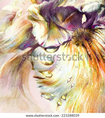 Fantastic beautiful flower with unusual exotic petals and drops of dew. Hand drawing with crayons on textured paper. - stock photo