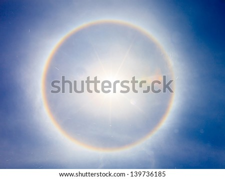 fantastic beautiful sun halo phenomenon in thailand - stock photo