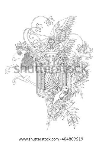 fantastic bird and pegasus adult coloring page with floral elements - stock photo