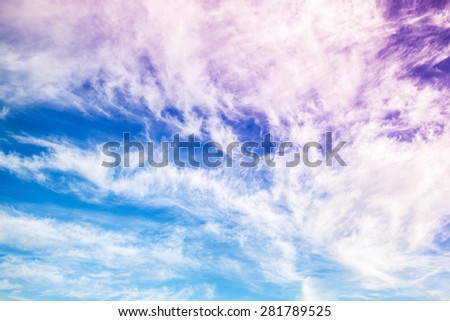 Fantastic blue and purple cloudy sky background texture - stock photo