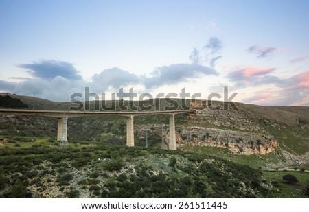 Fantastic bridge in mountains in Israel - stock photo