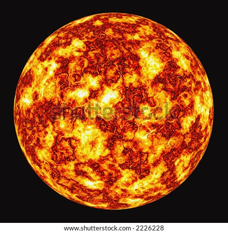 Fantastic burning, exploding sun isolated on black background - stock photo