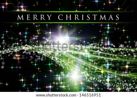 fantastic christmas wave design with snowflakes and glowing stars - stock photo