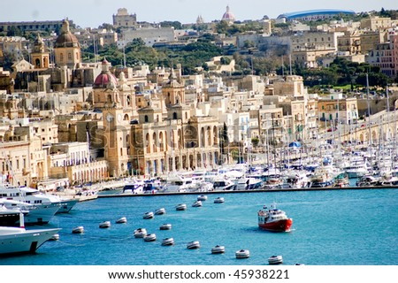 fantastic city landscape on the seaside in malta - stock photo