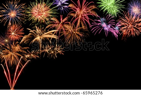 Fantastic colorful fireworks with black copyspace, perfect for the New Year, Independence Day or other celebrations - stock photo