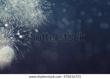 Fantastic colorful fireworks with  copyspace. Background for New Year, Independence Day or other celebrations