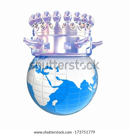Fantastic crown on earth isolated on white background  - stock photo
