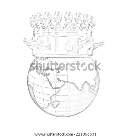 Fantastic crown on earth isolated on white background. Pencil drawing - stock photo
