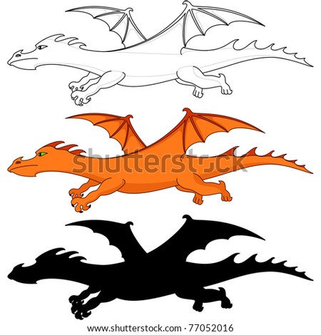 fantastic dragon, three variants: color, silhouette, contours