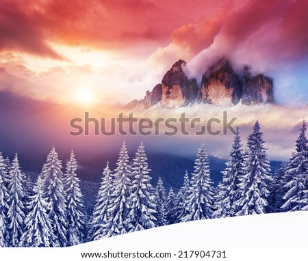 Fantastic evening winter landscape dramatic wintry scenery creative