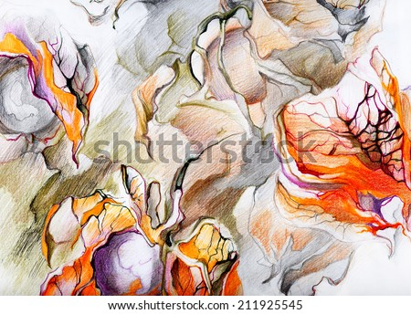 Fantastic exotic plants - fruits and flowers. Surrealism. Planets within in button . Drawing pencils and ink on paper. - stock photo