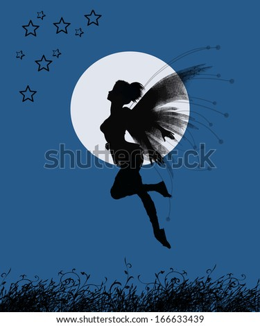 Fantastic fairy flying at night with a fullmoon