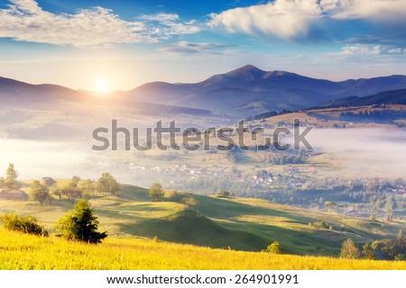 Fantastic foggy day and bright hills by sunlight. Dramatic morning scenery. Carpathian, Ukraine, Europe. Beauty world. - stock photo