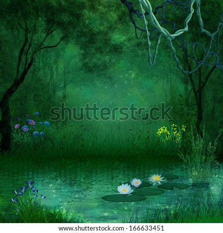 Fantastic forest and river - stock photo