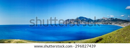 Fantastic hills,bay and mountains. - stock photo