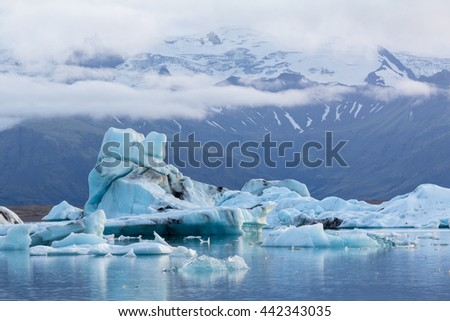 Fantastic huge chunks of ice in the lagoon, Iceland