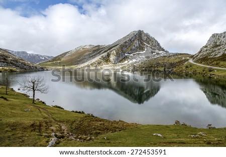 Fantastic lake Enol, one of the famous lakes of Covadonga, Asturias , Spain  - stock photo