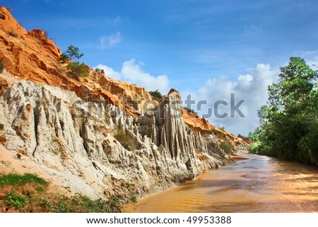 Fantastic landscape - Canyon of the Red River to the shores of colored sandstone
