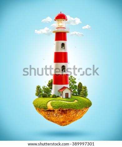 Fantastic lighthouse on a levitating island. - stock photo