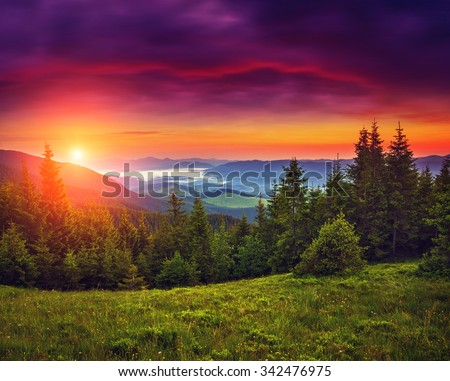 Fantastic mountains glowing by sunlight. Dark overcast sky in the morning. Dramatic and picturesque scene. Location Carpathian, Ukraine, Europe. Beauty world. Instagram toning. Warm toning effect. - stock photo