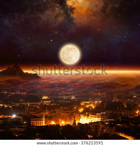 Fantastic mysterious background - rising full moon above glowing horizon, city night lights under red clouds. Elements of this image furnished by NASA - stock photo