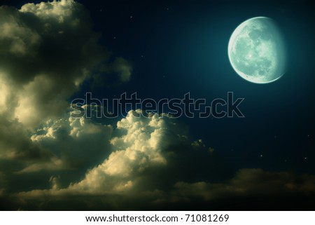 Fantastic night landscape with the big moon, clouds and stars - stock photo