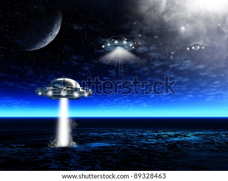 Fantastic night landscape with UFO and laser beam in a ocean. Illustration
