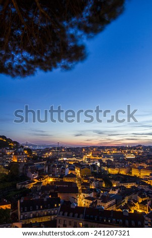 Fantastic night view of the Graca viewpoint, located in Lisbon, Portugal. - stock photo