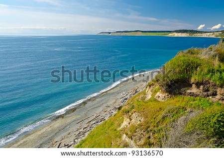 Fantastic ocean view from high beach coast in the U.S. state of Washington. - stock photo