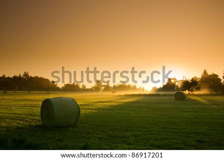 Fantastic Orange Sunrise - autumn meadow - stock photo
