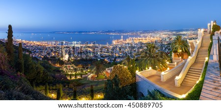 Fantastic panoramic view of Mediterranean coast in the evening. Haifa bay. Travel in Israel. - stock photo