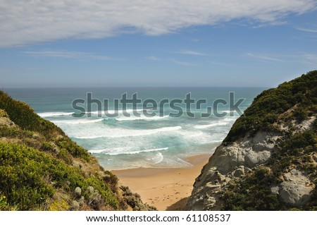 Fantastic paradise wild beach. Great Ocean Road, Australia, Victoria, National park - stock photo