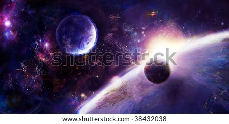 Fantastic picture, representing the remote future, kind from space - stock photo