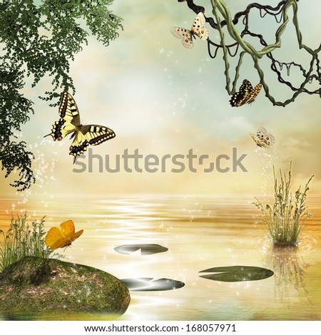 Fantastic pond with butterflies in a spring day