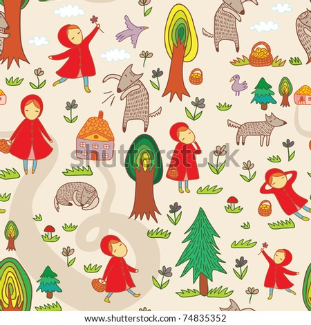 fantastic seamless pattern with Red Riding Hood - stock photo
