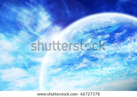 Fantastic Space Blue Background - stock photo