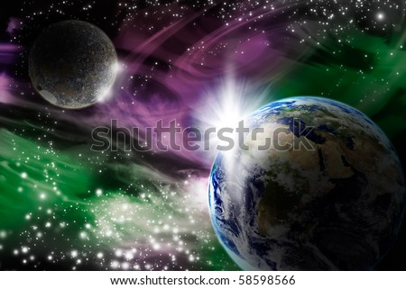 Fantastic star field with some nebulas, lots of stars and two planets. One of this planets is the Earth. All the image is generated with an editing software. None is real. - stock photo
