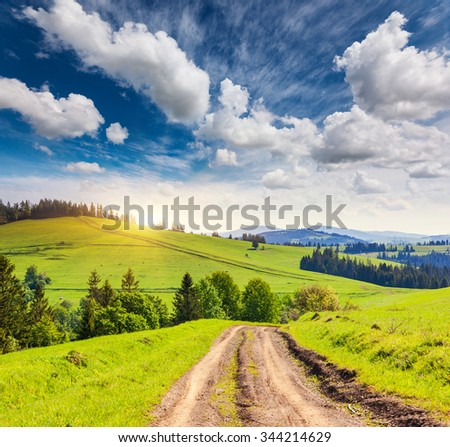 Fantastic sunny day is in mountain landscape. Carpathian, Ukraine, Europe. Beauty world.