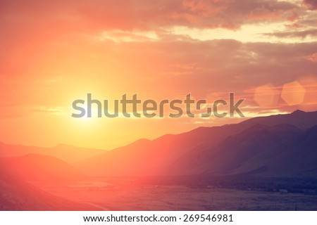 Fantastic sunrise in the mountains - instagram style - stock photo