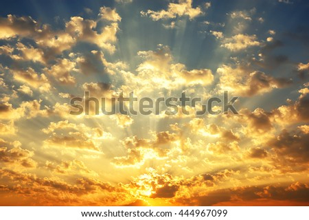 Fantastic sunrise with cloudy in morning background - stock photo