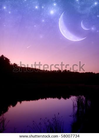 Fantastic sunset on the pond - stock photo