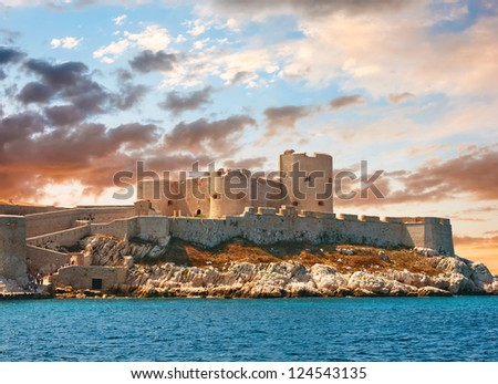 Fantastic sunset over famous If castle, chateau d'If, Marseille, France - stock photo