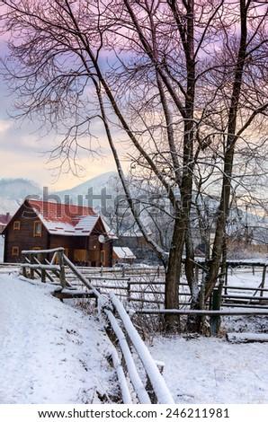Fantastic sunset winter landscape. Carpathian, Ukraine - stock photo