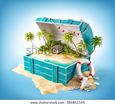 Fantastic tropical island with bungalow and deck chairs in opened wooden box on a pile of sand