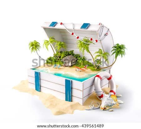 Fantastic tropical island with bungalow and deck chairs in opened wooden box on a pile of sand. Unusual creative 3d summer illustration Isolated at white - stock photo