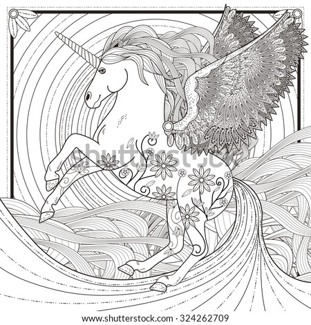 fantastic unicorn coloring page in exquisite style - stock ...