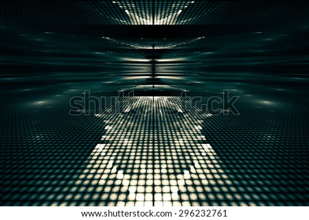 Fantastic unusual abstract background in rich turquoise colors with luminous reflections. - stock photo